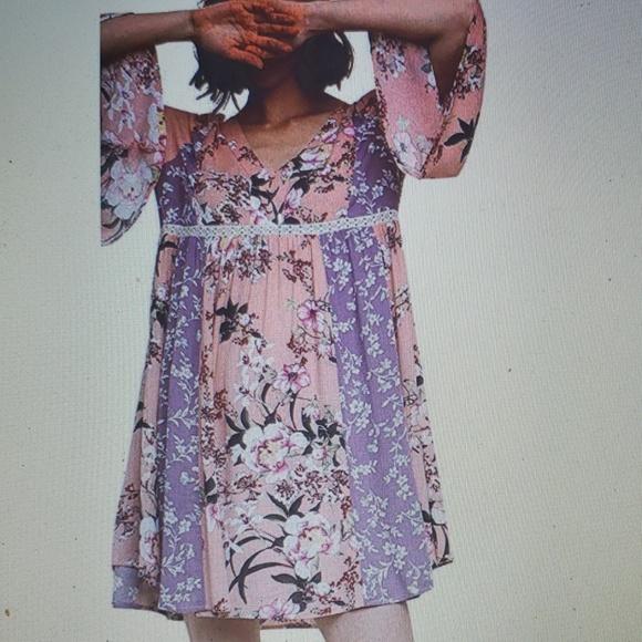 New UMGEE Navy Pink Floral Bell Sleeve Crochet Lace Tunic Top Short Dress XL